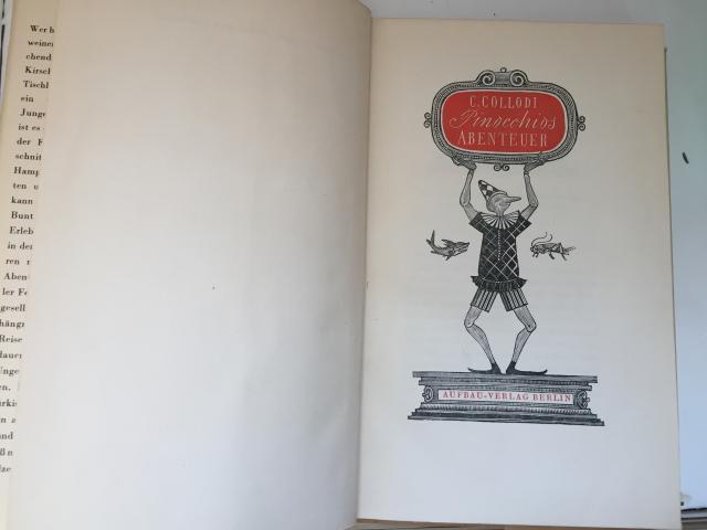 Frontespizio - Carlo Collodi,  Pinocchios Abenteuer, Aufbau-Verlag, Berlin, 1954, tradotto dall'italiano da Pan Rova