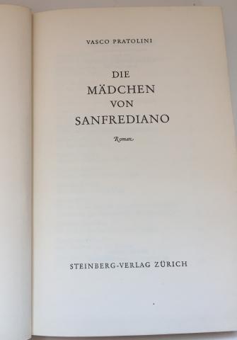 Frontespizio - Vasco Pratolini, Die Mädchen von San Frediano, Steinberg-Verlag, Zürich, 1957, tradotto dall'italiano da Pan Rova.