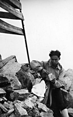 Primo Levi on the Disgrazia Mountain, Valtellina, 15th August, 1942. Property of the Levi family.