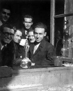 Primo Levi in the Quantitative Analysis Laboratory of the Chemistry Institute, at the University of Turin, February 1940. Property of the Levi family