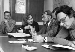 Primo Levi at a meeting of the school council of the Liceo Massimo D'Azeglio. February 17 1975. Copyright La Stampa