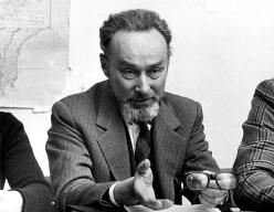 Primo Levi at a meeting of the school board of Liceo Massimo D'Azeglio. February 17 1975. Copyright La Stampa