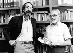 Primo Levi with Philip Roth in his Corso Re Umberto apartment in Turin. September 6 1986. Copyright La Stampa