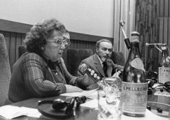 At a conference in the San Paolo Salon at Piazza San Carlo, with Giuliana Tedeschi. January 5 1975. Copyright La Stampa