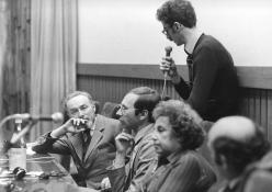 At a conference in the San Paolo Salon at Piazza San Carlo in Turin, January 5 1975. Copyright La Stampa