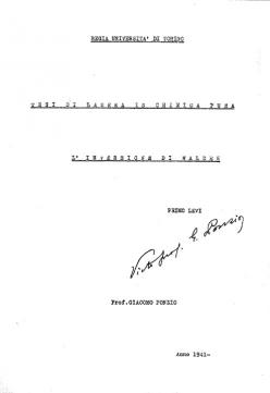 Title page of Primo Levi's thesis on Walden inversion.