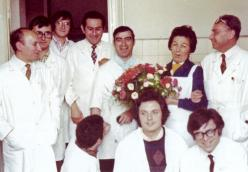Orsolina Azzario's birthday party at Siva, June 8 1972. First row, from the left: Giuseppe Cordua, Massimo Polazzoni. Second row: Giuseppe Venezia, Aldo Nani, Giuseppe Carlino, Giuseppe Gilardi, Adolfo Arri, Orsolina Azzario, Primo Levi.