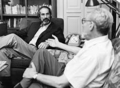 Primo Levi with Philip Roth in his Corso Re Umberto apartment in Turin. Copyright La Stampa