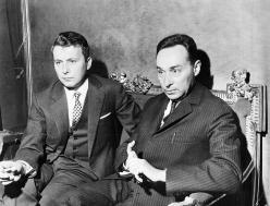"""Primo Levi and Pieralberto Marchè at the Carignano theatre attending the dramatization of """"Se questo è un uomo"""", November 18, 1966. Copyright La Stampa"""