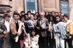 Primo Levi with students in Pesaro, Teatro Rossini, May 1986