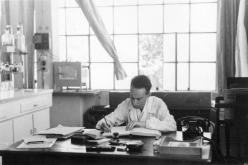 Primo Levi in his office/laboratory at Siva, 1952